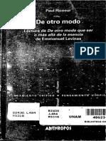 Ricoeur Paul - De Otro Modo Lectura de de Otro Modo Que Ser O Mas
