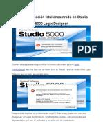 Error de aplicación fatal encontrado en Studio.docx