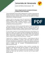 PCV Rechaza y Condena Categóricamente Escalada Del Bloqueo Económico Estadounidense Contra Venezuela