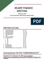 Finance Meeting 022316 Condominium Act