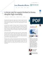 Critical Care for Sepsis Limited in Korea Despite High Mortality - Korea Biomedical Review