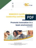 BSBINN301 - Promote Innovation in a Team Environment Learner Guide V3-1