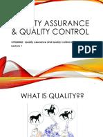 L1 - Quality Assurance Quality Control