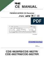 Alpine Cde-9828rb Cde-9827r Rm Rr Car Audio