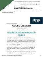 ASIGEO Venezuela 04-08-2019 Ofrendar Para El Funcionamiento de Asigeo