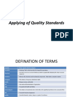 Applying of Quality Standards