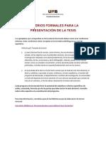 Criterios formales para la presentación de la tesis