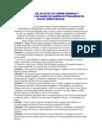 LEY DE 21 DE JULIO DE 1933 SOBRE ADMISION Y PERMANENCIA DE NAVES DE GUERRA EXTRANJERAS EN AGUAS TERRITORIALES DE VENEZUELA