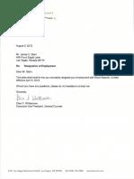 2019 08 05 JC Stern Resignation of Employment Letter