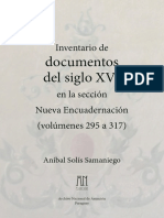 Inventario de Documentos Siglo16 Nueva Encuadernacion - V-295 a 317