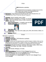 Datos de Jalapa, Zacapa y Huehuetenango