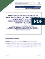 RECOMENDACIONES DEL MODELO DE PLANIFICACIÓN Y ATENCIÓN GERONTOLÓGICA