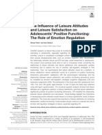 The Influence of Leisure Attitudes and Leisure Satisfaction on Adolescents Positive Functioning the Role of Emotion Regulation