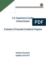Doj Evaluation of Corporate Compliance Programs April 2019 Final