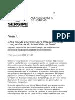Deda Discute Parcerias Para Desenvolvimento Com Presidente Da Mitsui Gas Do Brasil