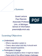 Reputation Systems Guest Lecture