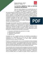ENSAYO SOBRE LA POLÍTICA AMBIENTAL PARA LA GESTIÓN INTEGRAL DE LOS RESIDUOS PELIGROSOS