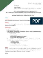 Resumen Para La Estructuracion de Una Tesis, PARTE 1