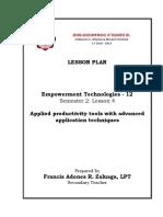 Lesson Plan - EmTech_12 - Q3L4_Applied Productivity Tools With Advanced Application Techniques