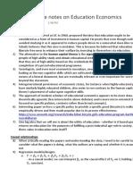 Week 1 notes on Education Economics