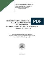 Respuesta Eclesial y Canonica a Los Abusos Sexuales de Menores Bajo El Impulso de Ratzinger. Rafael Felipe Freije