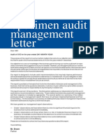 21 Specimen Audit Management Letter