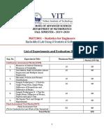 Fallsem2019-20 Mat2001 Ela Vl2019201000429 Assessment Rubrics 2. Mat2001-Se-lab - List of Experiments and Evaluation Details
