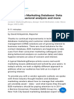 CRM and the Marketing Database Data Hygiene Behavioral Analysis and More