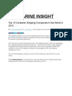 Top 10 Shipping Company 2012