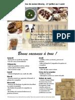 Menu de La Cuisine de Meme Moniq 27 Juillet Au 3 Aout