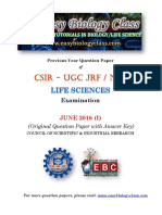 CSIR NET Life Sciences June 2016 Question Paper Answer Key
