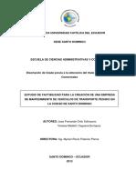 Estudio de Factibilidad Para La Creación de Una Empresa de Mantenimiento de Vehículos de Transporte Pesado en La Ciudad de Santo Domingo