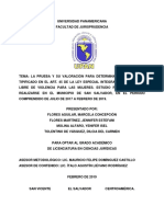 La prueba y su valoración para determinar el feminicidio tipificado en el Art. 45 de la Ley Especial Integral Para una Vida Libre de Violencia para las Mujeres. Estudio retrospectivo a realizarse en el municipio de San Salvador, en el periodo comprendido de julio de 2017 a febrero de 2019