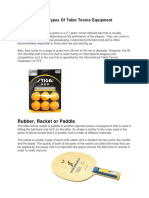 Basic Types of Table Tennis Equipment