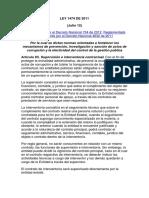 Ley 1474 de 2011 Colombia