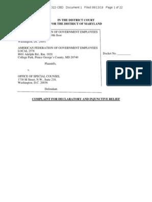 AFGE v  OSC 8:19-cv-02322-CBD | First Amendment To The