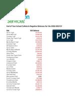 HCS - School Lunch Debt 2018-19