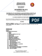 Acuerdo Del Plan de Desarrollo Municipal Santa Maria 2012 Proyecto de Acuerdo n 013