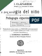 Psicología del niño y pedagogía experimental - Claparéde