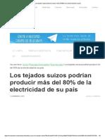 Los Tejados Suizos Podrían Producir Más Del 80% de La Electricidad de Su País