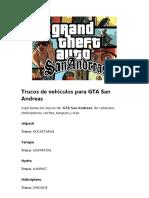 Trucos de Vehículos Para GTA San Andreas