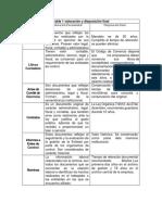 Tabla 1 valoración y disposición final