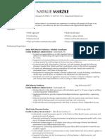 professional resume-natalie marzke