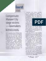 Manila Standard, Aug. 14, 2019, Compensate Marawi City siege victims - lawmakers.pdf