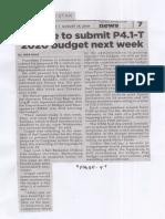Philippine Star, Aug. 14, 2019, duterte to submit P4.1-T 2020 budget next week.pdf