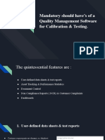 Mandatory should have's of a Quality Management Software for Calibration & Testing
