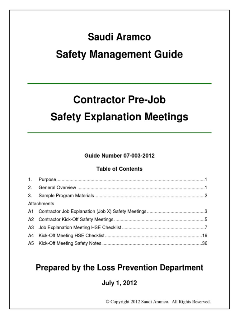 Contractor Pre Job Safety Explanation Meetings Guide 07 003