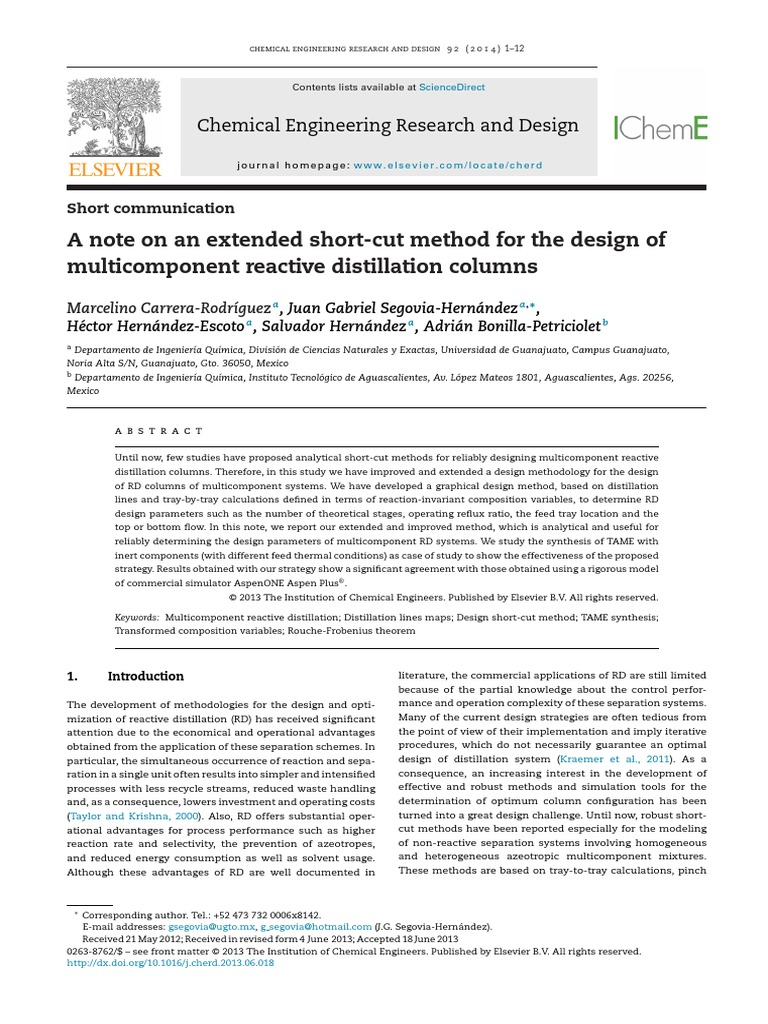 A Note On An Extended Short Cut Method For The Design Of Multicomponent Reactive Distillation Columns Distillation Chemistry Free 30 Day Trial Scribd
