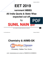 NEET 2019 AIQ & State Quota Expected Cutoff Marks and Ranks by SUNIL NAIN.pdf