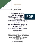 Historia y Condena Al XX Congreso Del PCUS,Archivo Hoxha